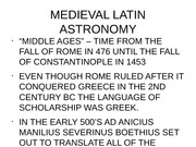 Medieval and Latin astronomy