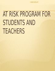 AED 204 Week 8 Assignment Creating an At-Risk Program