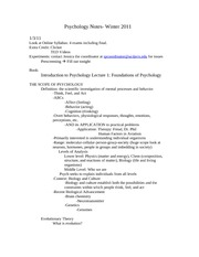 2011 Winter Quarter Psychology Notes