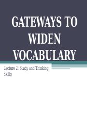 ENG 101 Gateways to Widen Vocabulary.ppt