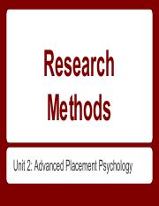 AP Psychology Research Methods