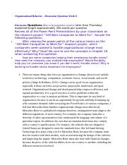 Organizational Behavior - Discussion Questions Week 8.docx