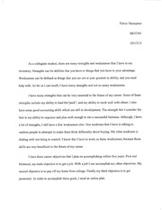 Strengths and Weaknesses of inventory essay