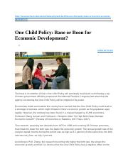 One Child Policy- Bane or Boon for Economic Development.docx