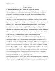 2 pages consulting company research assingment - Mckinsey Cover Letter