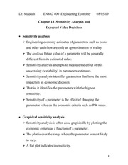 Lecture 13 on  Sensitivity Analysis and Expected Value Decisions (Chapter 18)