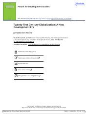 Twenty First Century Globalization A New Development Era