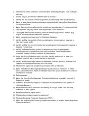 Infection Control Questions worksheet