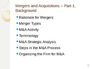 M&A day 1 outline