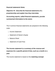 financial statements Notes