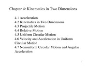 Chapter 4 - Kinematics in Two Dimensions - Projectile Motion