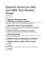 Spanish American War and WWI Test Review Sheet.docx
