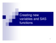 Chapter 5. Creating new variables and SAS functions