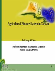 Agricultural Finance System in Taiwan(20130512)