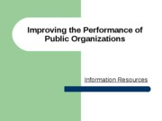 Apr 1 - Improving Government Performance Part I Information Spring 2008
