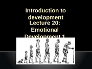 Lecture 12 Emotional Develoment