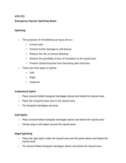 ATR 272 Emergency Injuries Splinting Notes