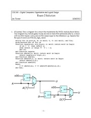 Exam 2 Solution Spring 2012 on Introduction to Digital Logic and Computer Design