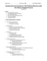ECON 100B Section Notes - Fed Reserve and Money Supply