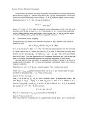 Lecture 6 Notes Division Polynomials