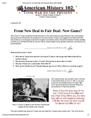 H102 Lecture 22_ From New Deal to Fair Deal_ New Deal or Same Shuffle_