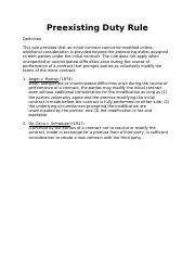Preexisting Duty Rule - Rules of Law - 2.docx