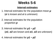MATH 1P98 Week 5&6  - Interval estimates (Lecture)