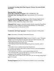community teaching work plan proposal essay