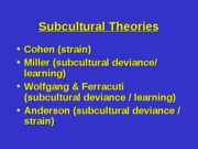 10 - Subcultural Theories