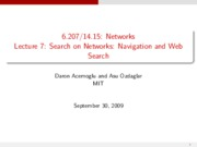 Lecture 7 - Search on Networks - Navigation and We