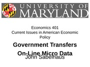 Government Transfer Programs and On-Line Micro Data
