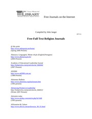 Free Religion Journals on the InternetJuly2011