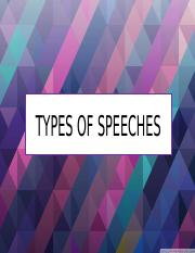 Lesson 3 Types of speeches