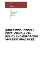 Unit 7 Assignment 1_Create a VPN Connectivity Troubleshooting Checklist