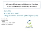 A Proposed Entrepreneurial Business Plan for a TELECOMUNICATION