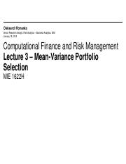 MIE1622H Lecture 3 - Mean-Variance Portfolio Selection