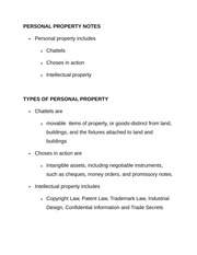 PERSONAL PROPERTY NOTES