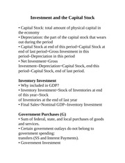 ECON 2000-Investment and the Capital Stock