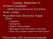 Agenda and SS3 Questions