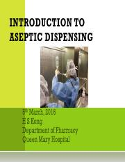 Introduction to aseptic dispensing(2016Mar)