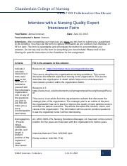 chamberlain college nr 447 collaborative evidence and expert interview paper milestone project Nr 447 week 3 assignment: conflict resolution paper nr 447 rn collaborative healthcare - chamberlain nr 447 week 3 interview with a nursing quality expert.