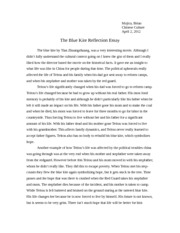 The Blue Kite Reflection Essay