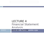 Lecture 4 Financial Statement Analysis