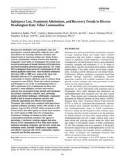 Substance Use, Treatment Admissions, and Recovery Trends in Diverse