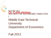 ECON 361 2013-2014 - WEEK 1-2 - INTRODUCTION