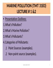 LECTURE #1 & 2 MARINE POLLUTION