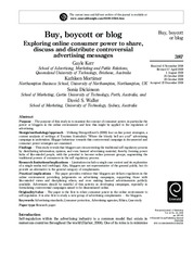 Week 9 Reading-Buy, Boycott or blog Exploring online consumer power to share, discuss and distribute