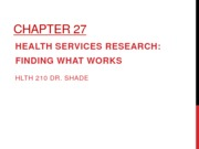 Ch 27 Health Services Research in Public Health