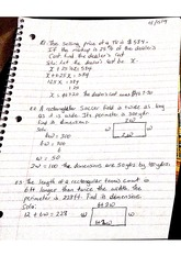 Sample Word Problems Class Notes