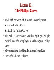 Lecture 12. Phillips Curve